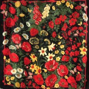 Jacqueline Ferrar Silk Scarf Flowers on Black